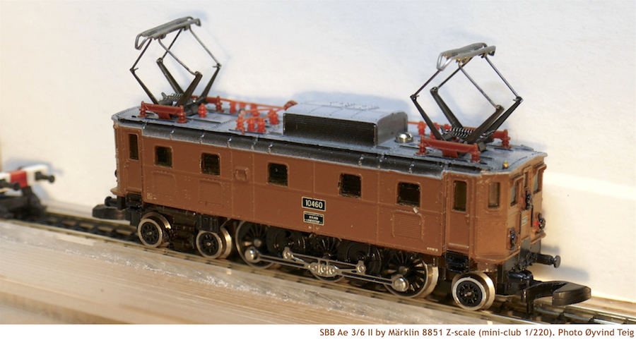 Märklin 8851 brown Z scale of SBB Ae 3/6 II (4-focus)