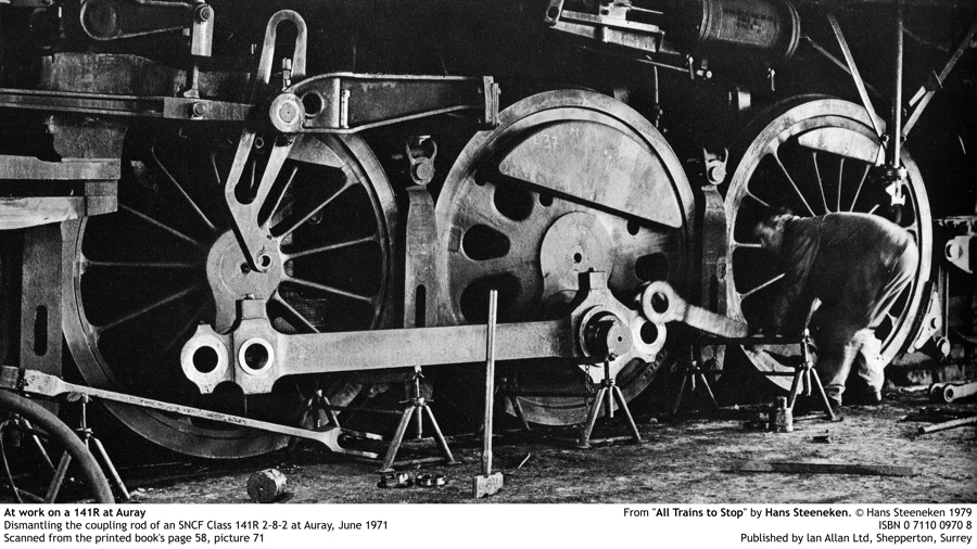 "At work on a 141R at Auray. Dismantling the coupling rod of an SNCF Class 141R 2-8-2 at Auray, June 1971. Scanned from the printed book's page 58, picture 71. From ""All Trains to Stop"" by Hans Steeneken. © Hans Steeneken 1979. ISBN 0 7110 0970 8. Published by lan Allan Ltd, Shepperton, Surrey (PRESS FOR HIGHER RESOLUTION)"