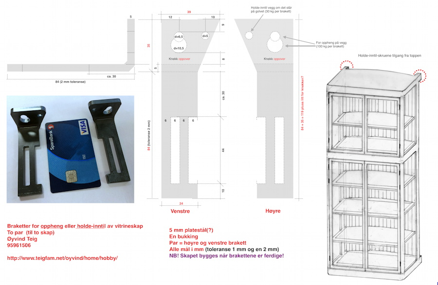 Bracket design for floating wall cabinet with curved back
