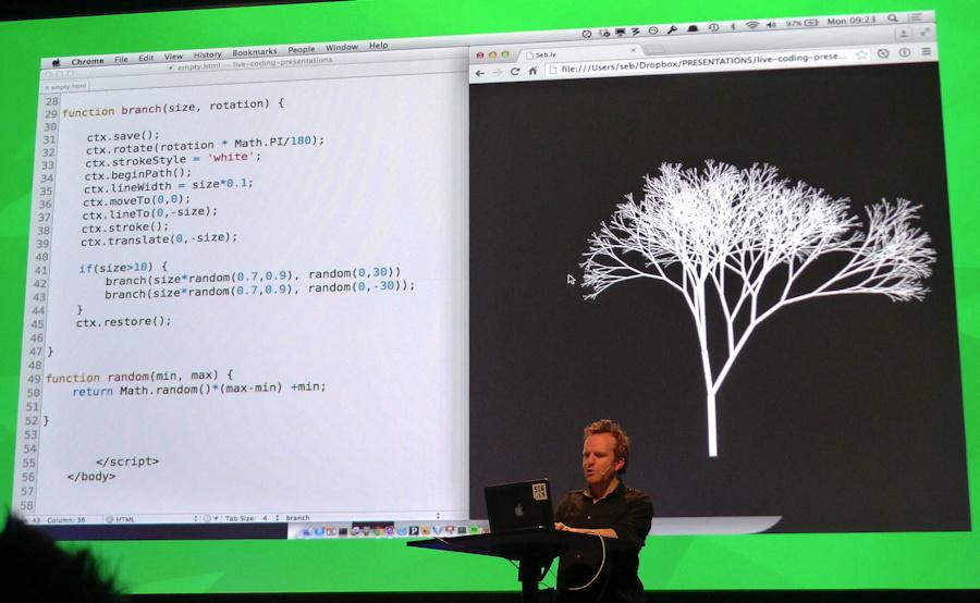 Seb Lee-Delisle at TDC 2015 showing JavaScript tree