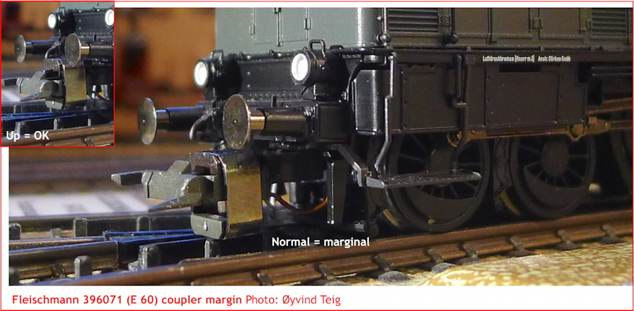 Fleischmann 396071 coupler margin on Märklin M-track