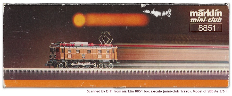 Märklin 8851 brown Z scale of SBB Ae 3/6 II (scanned box)