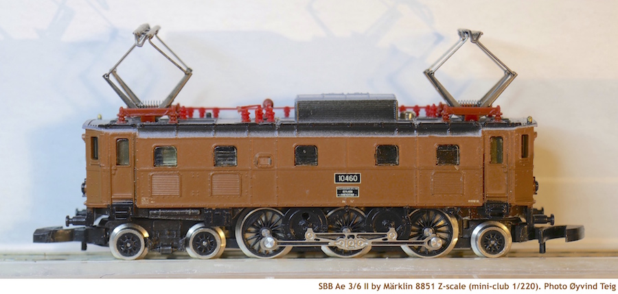 Märklin 8851 brown Z scale of SBB Ae 3/6 II